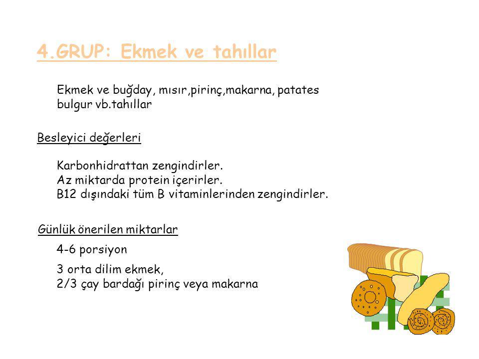 4.GRUP: Ekmek ve tahıllar