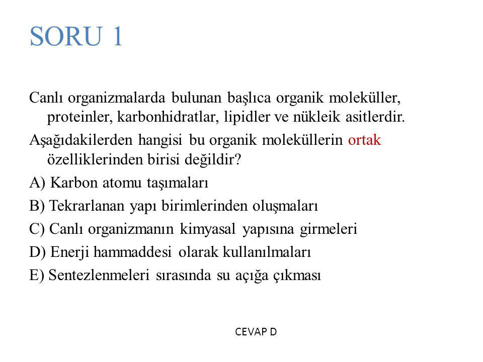 SORU 1 Canlı organizmalarda bulunan başlıca organik moleküller, proteinler, karbonhidratlar, lipidler ve nükleik asitlerdir.