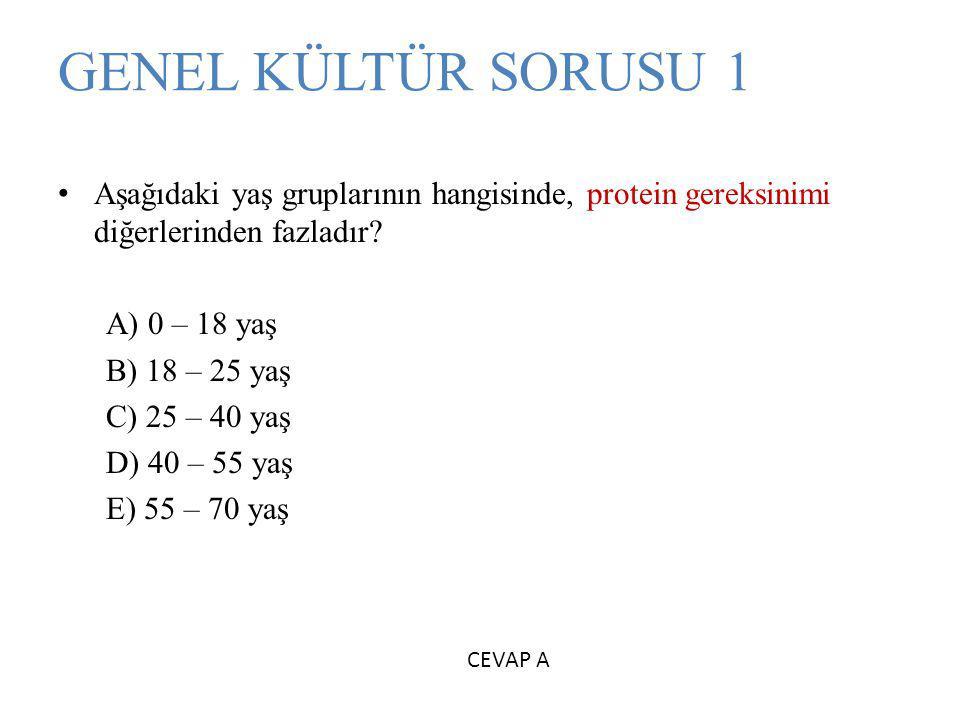 GENEL KÜLTÜR SORUSU 1 Aşağıdaki yaş gruplarının hangisinde, protein gereksinimi diğerlerinden fazladır