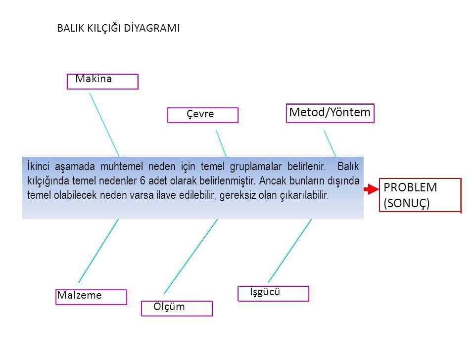 Metod/Yöntem PROBLEM (SONUÇ) BALIK KILÇIĞI DİYAGRAMI Makina Çevre