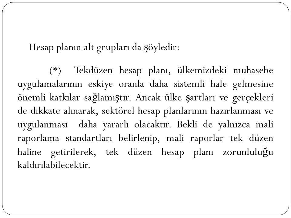 Hesap planın alt grupları da şöyledir: (