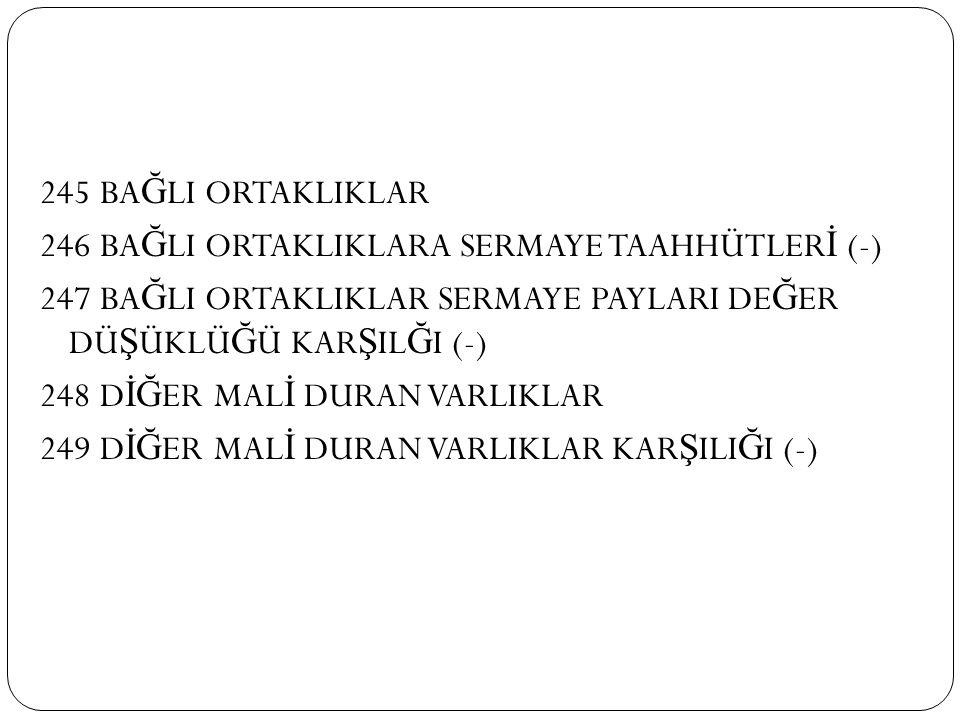 245 BAĞLI ORTAKLIKLAR 246 BAĞLI ORTAKLIKLARA SERMAYE TAAHHÜTLERİ (-) 247 BAĞLI ORTAKLIKLAR SERMAYE PAYLARI DEĞER DÜŞÜKLÜĞÜ KARŞILĞI (-) 248 DİĞER MALİ DURAN VARLIKLAR 249 DİĞER MALİ DURAN VARLIKLAR KARŞILIĞI (-)