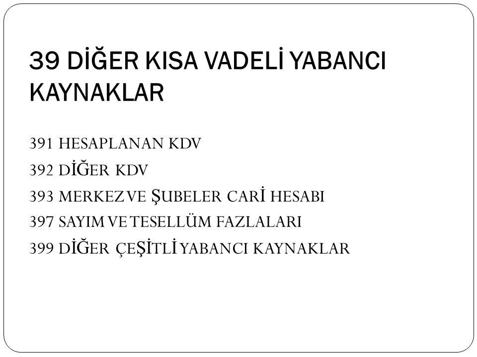 39 DİĞER KISA VADELİ YABANCI KAYNAKLAR