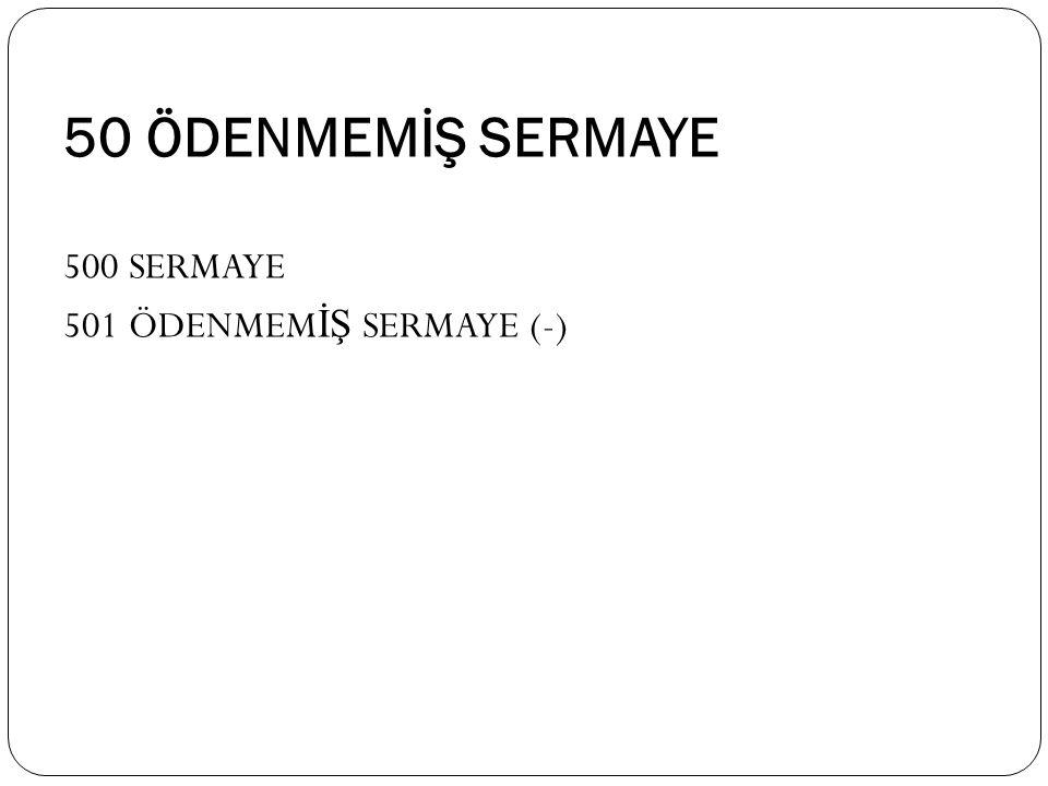 50 ÖDENMEMİŞ SERMAYE 500 SERMAYE 501 ÖDENMEMİŞ SERMAYE (-)