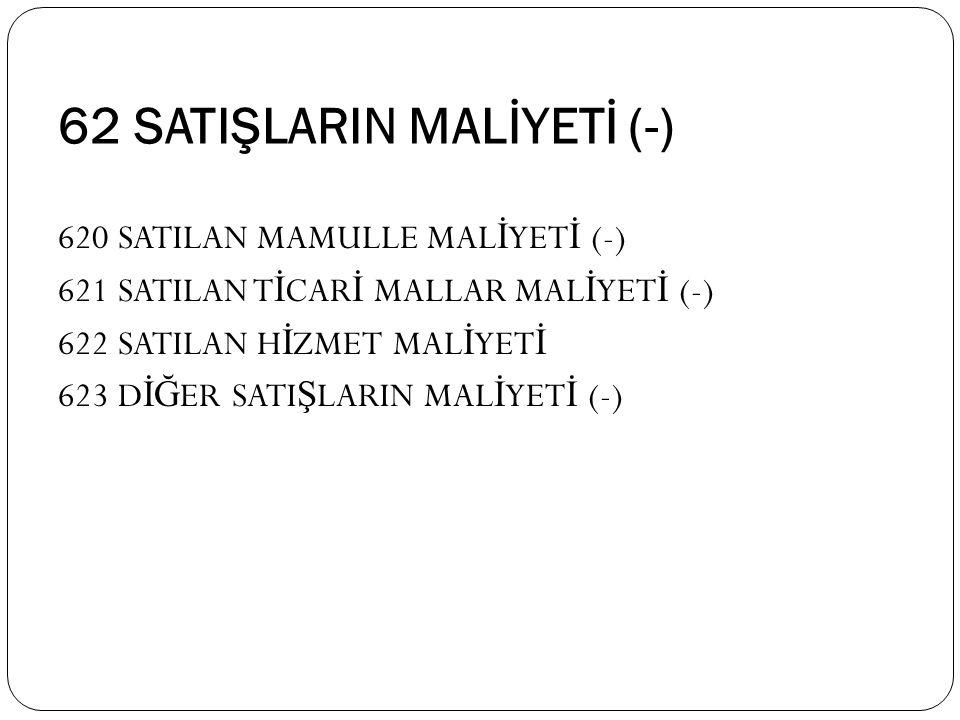 62 SATIŞLARIN MALİYETİ (-)