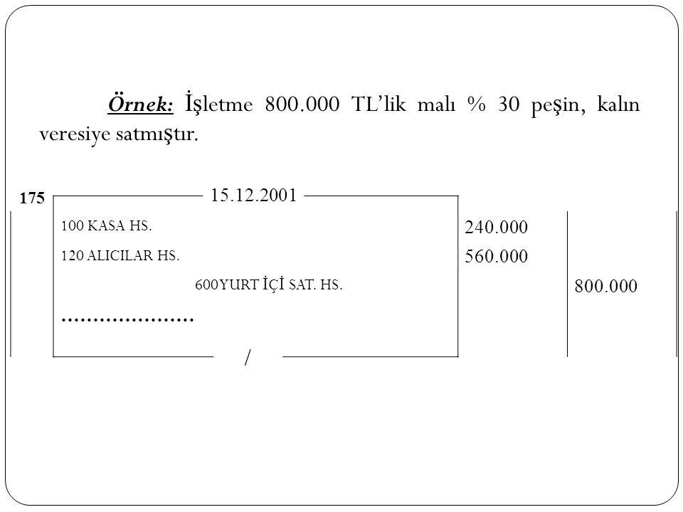 Örnek: İşletme 800.000 TL'lik malı % 30 peşin, kalın veresiye satmıştır.
