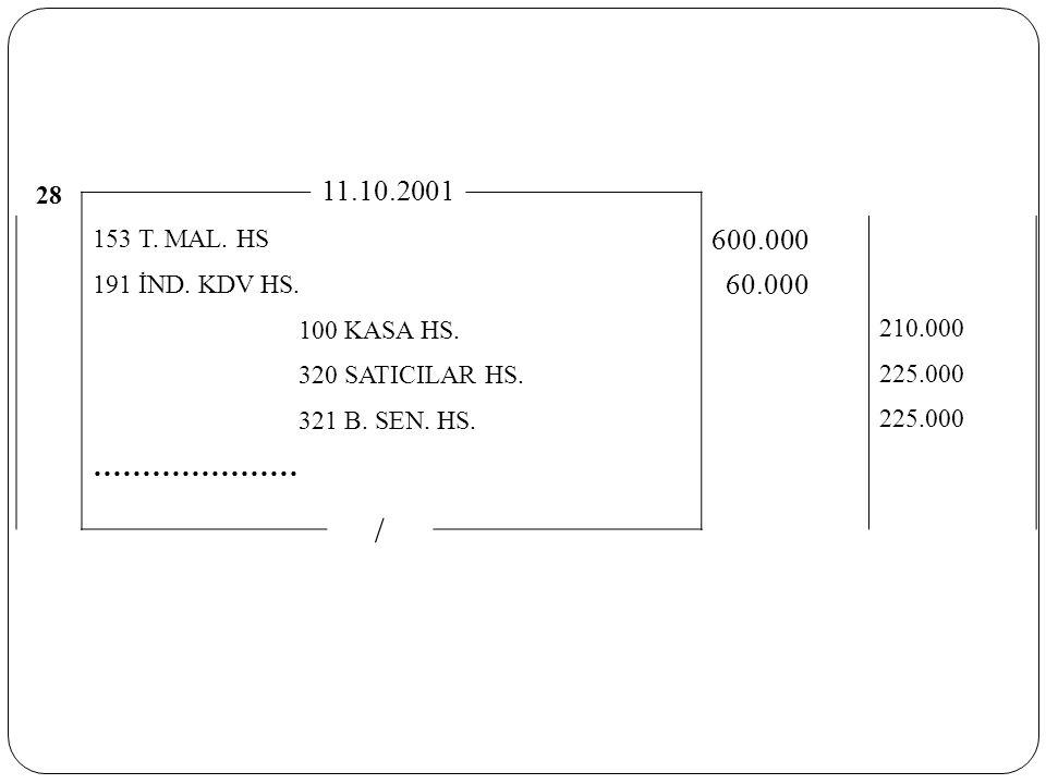 / 11.10.2001 600.000 60.000 ………………… 28 153 T. MAL. HS 191 İND. KDV HS.