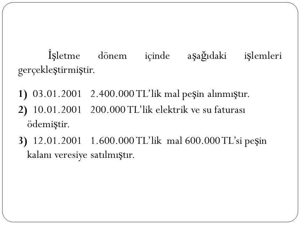 İşletme dönem içinde aşağıdaki işlemleri gerçekleştirmiştir. 1) 03. 01
