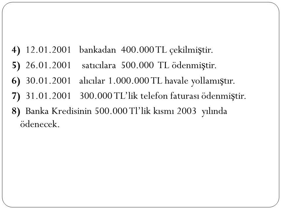 4) 12. 01. 2001 bankadan 400. 000 TL çekilmiştir. 5) 26. 01