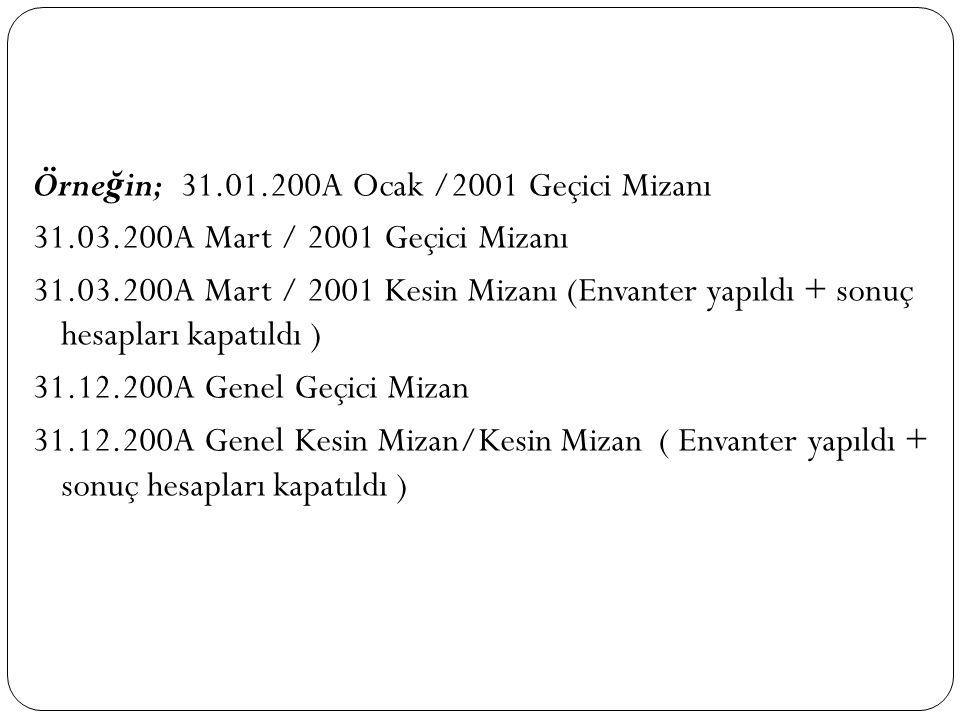 Örneğin; 31. 01. 200A Ocak /2001 Geçici Mizanı 31. 03