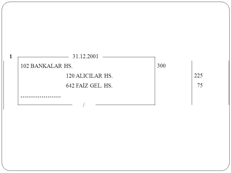 1 31.12.2001 102 BANKALAR HS. 300 120 ALICILAR HS. 225 642 FAİZ GEL. HS. 75 ………………… /
