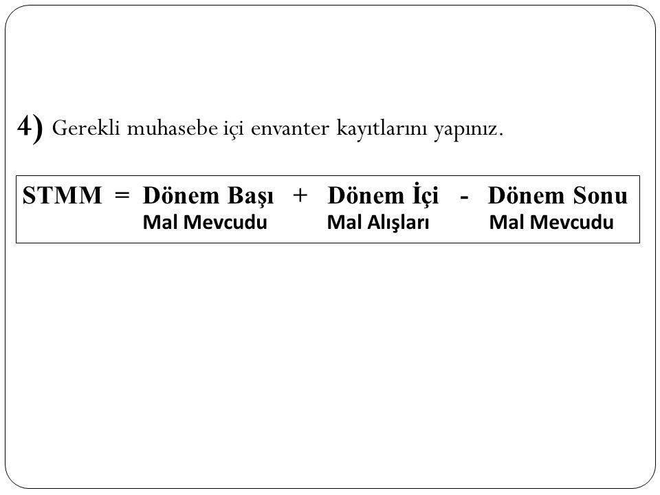 4) Gerekli muhasebe içi envanter kayıtlarını yapınız.