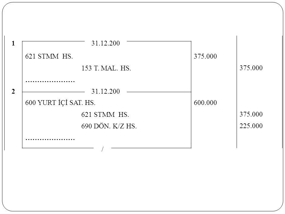 1 31.12.200. 621 STMM HS. 375.000. 153 T. MAL. HS. ………………… 2. 600 YURT İÇİ SAT. HS. 600.000.