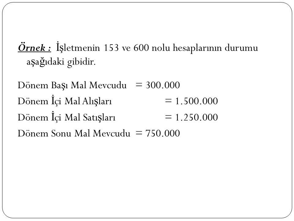 Örnek : İşletmenin 153 ve 600 nolu hesaplarının durumu aşağıdaki gibidir.