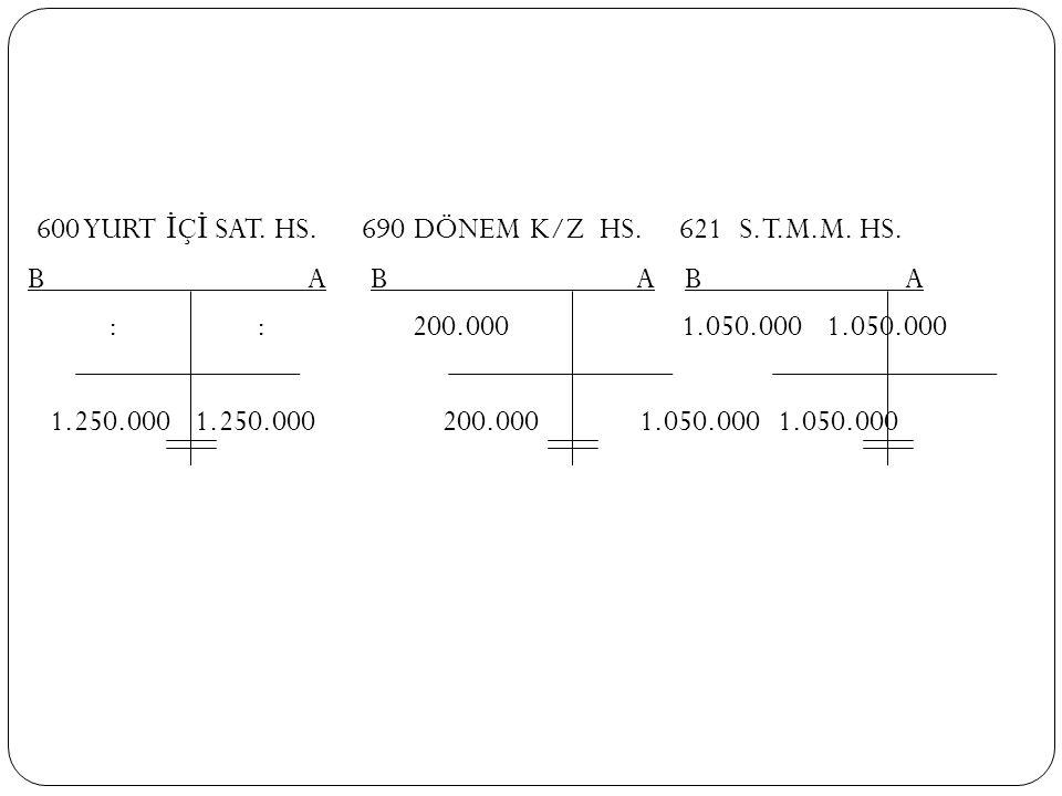 600 YURT İÇİ SAT. HS. 690 DÖNEM K/Z HS. 621 S.T.M.M. HS.