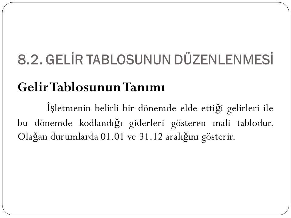 8.2. GELİR TABLOSUNUN DÜZENLENMESİ