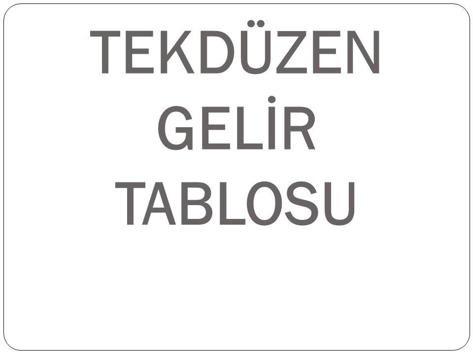 TEKDÜZEN GELİR TABLOSU