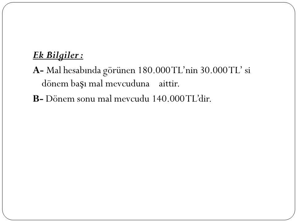 Ek Bilgiler : A- Mal hesabında görünen 180. 000 TL'nin 30