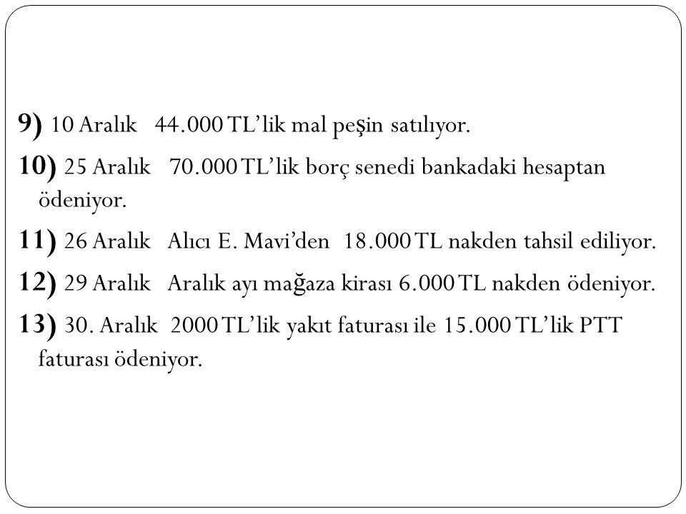 9) 10 Aralık 44. 000 TL'lik mal peşin satılıyor. 10) 25 Aralık 70