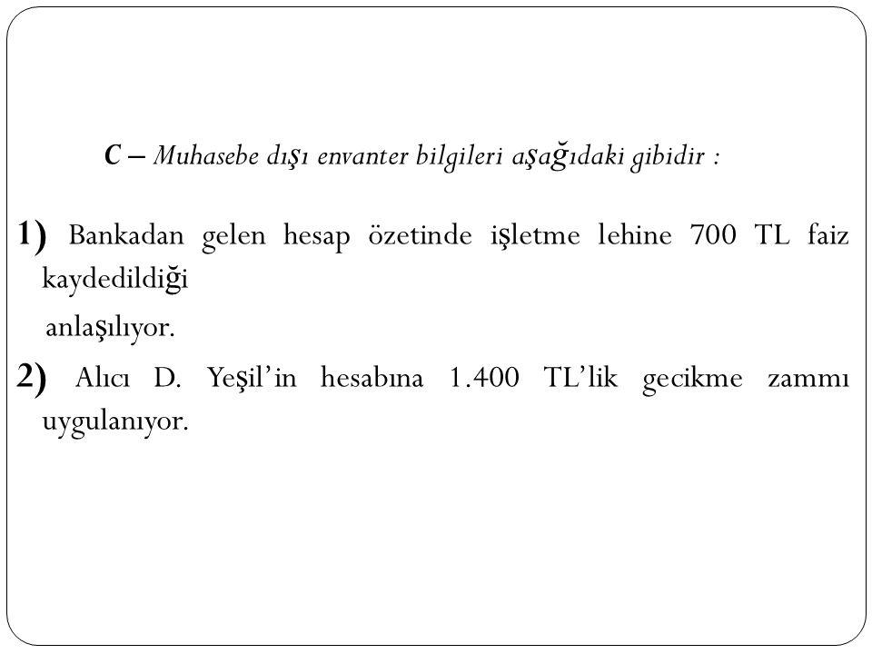 2) Alıcı D. Yeşil'in hesabına 1.400 TL'lik gecikme zammı uygulanıyor.