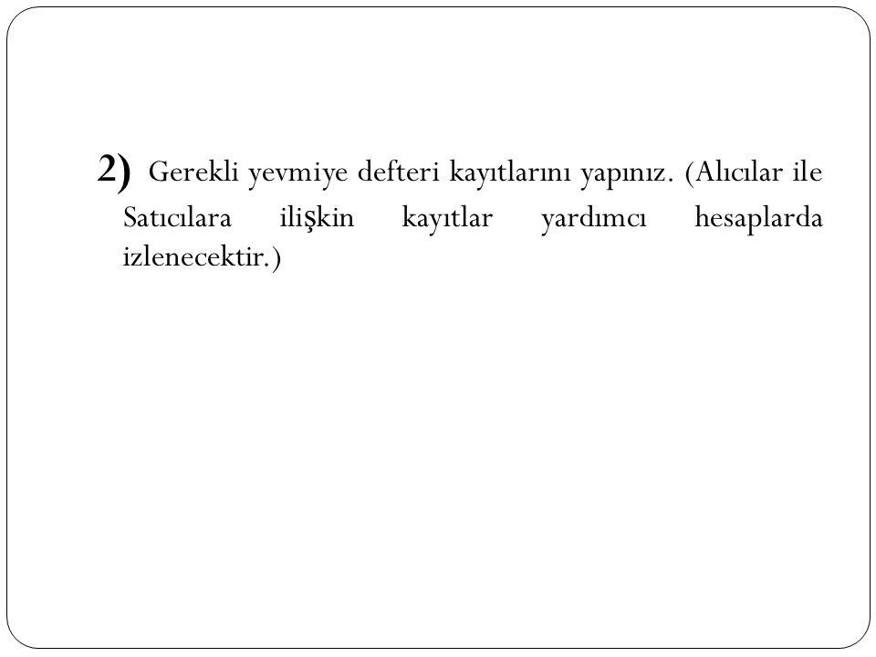 2) Gerekli yevmiye defteri kayıtlarını yapınız