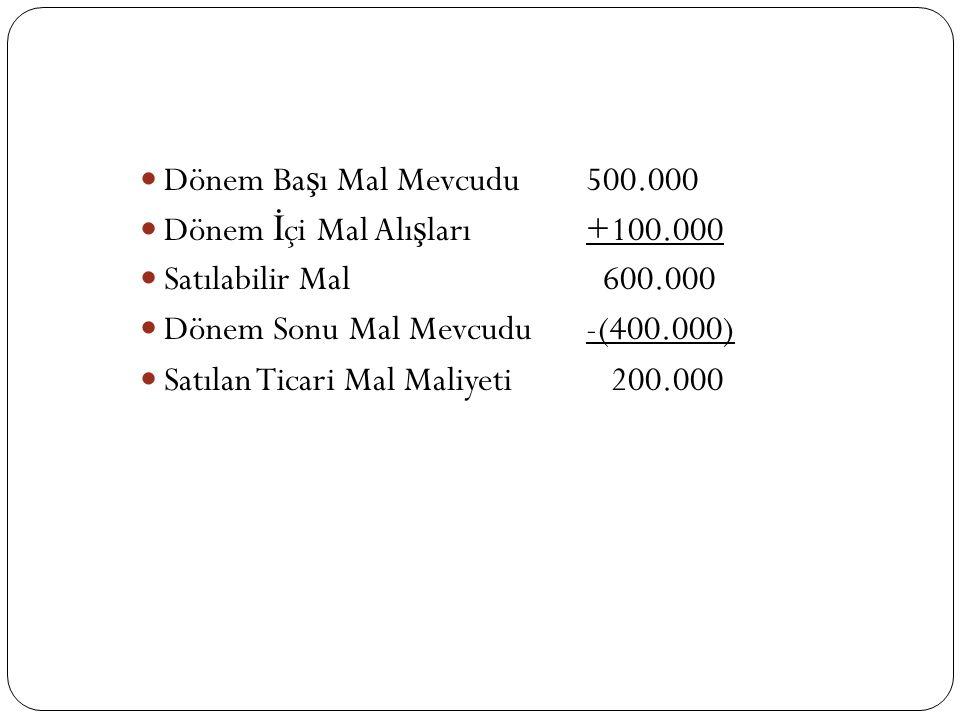 Dönem Başı Mal Mevcudu 500.000 Dönem İçi Mal Alışları +100.000. Satılabilir Mal 600.000. Dönem Sonu Mal Mevcudu -(400.000)
