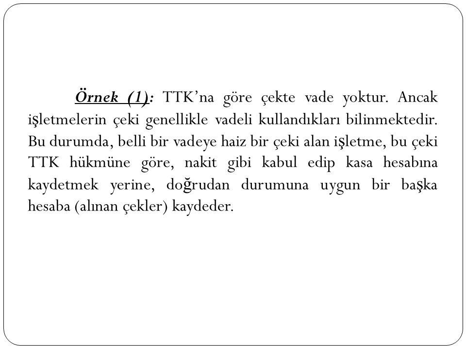 Örnek (1): TTK'na göre çekte vade yoktur