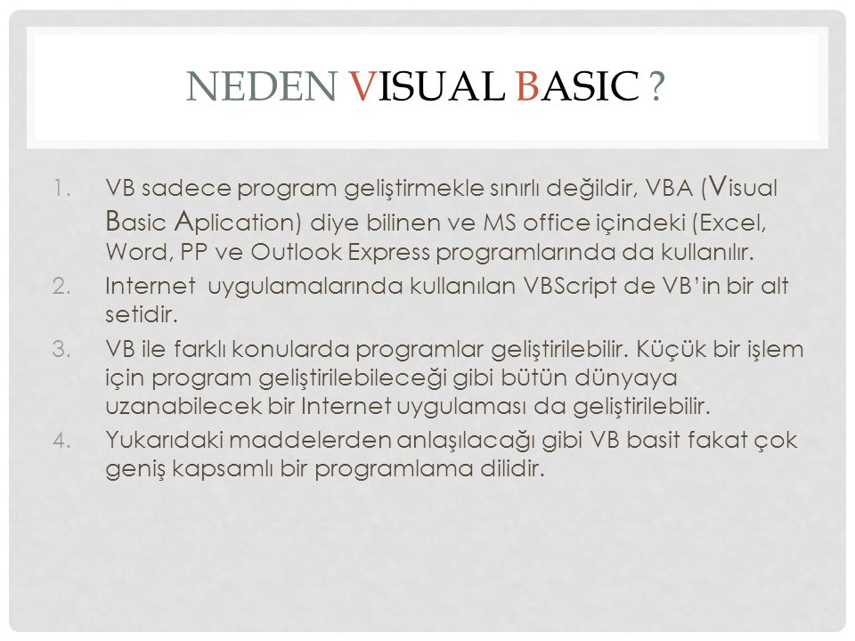 NEDEN Visual Basic
