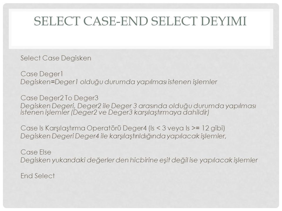 Select Case-End Select Deyimi