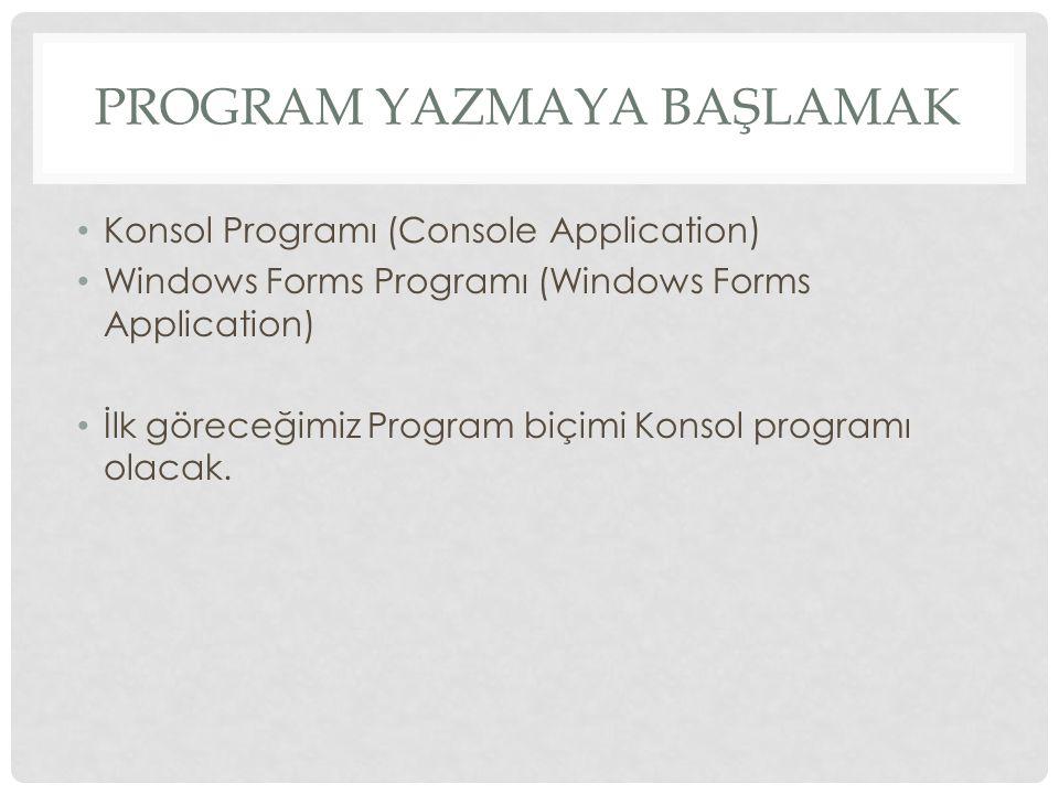Program YazmaYa Başlamak