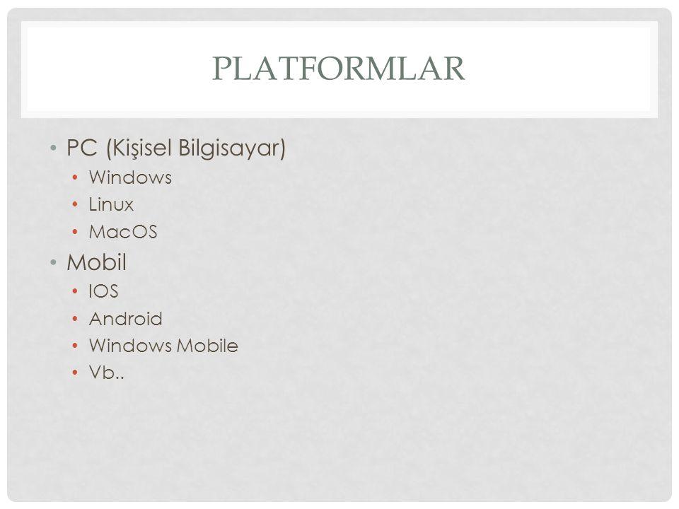 Platformlar PC (Kişisel Bilgisayar) Mobil Windows Linux MacOS IOS