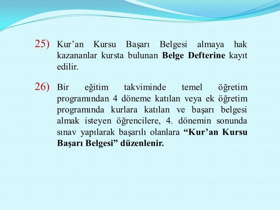 Kur'an Kursu Başarı Belgesi almaya hak kazananlar kursta bulunan Belge Defterine kayıt edilir.