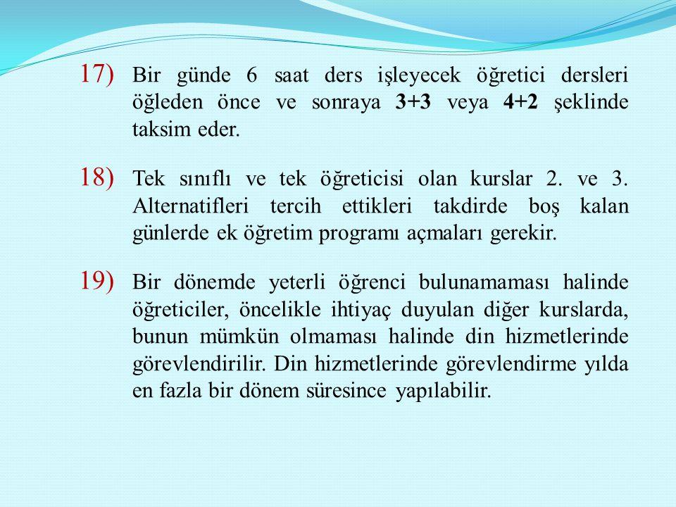 Bir günde 6 saat ders işleyecek öğretici dersleri öğleden önce ve sonraya 3+3 veya 4+2 şeklinde taksim eder.