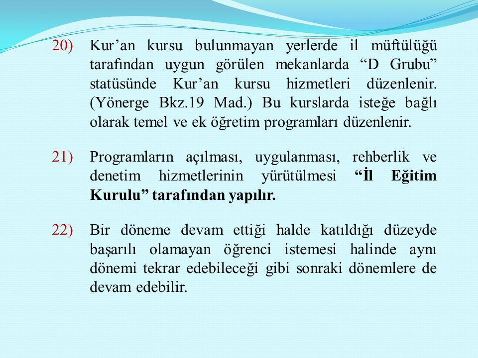 Kur'an kursu bulunmayan yerlerde il müftülüğü tarafından uygun görülen mekanlarda D Grubu statüsünde Kur'an kursu hizmetleri düzenlenir. (Yönerge Bkz.19 Mad.) Bu kurslarda isteğe bağlı olarak temel ve ek öğretim programları düzenlenir.