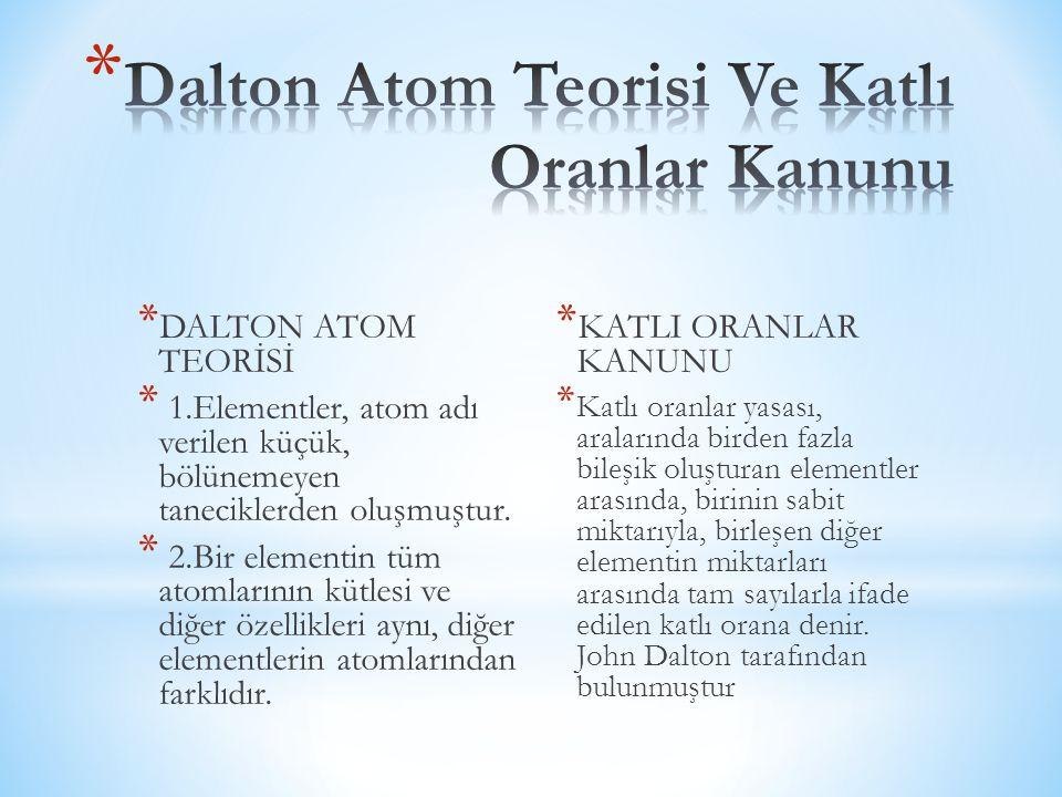 Dalton Atom Teorisi Ve Katlı Oranlar Kanunu