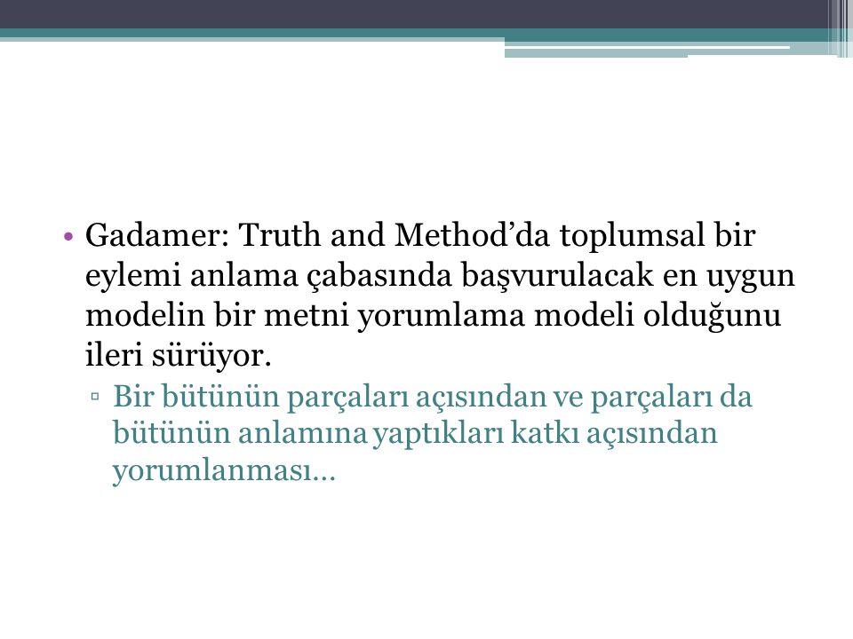 Gadamer: Truth and Method'da toplumsal bir eylemi anlama çabasında başvurulacak en uygun modelin bir metni yorumlama modeli olduğunu ileri sürüyor.