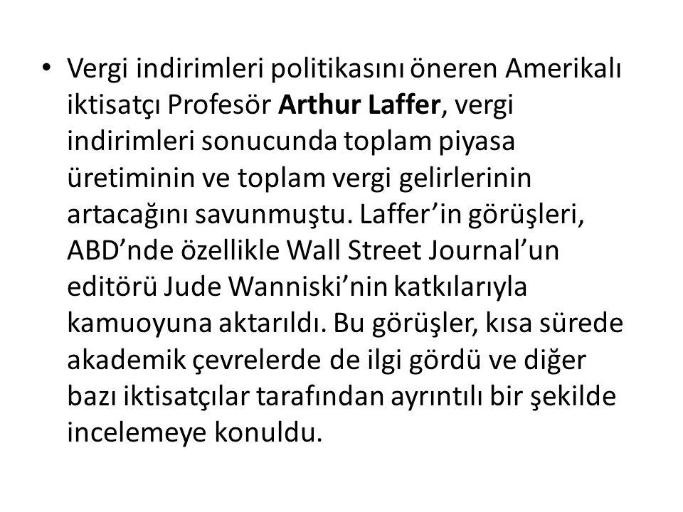 Vergi indirimleri politikasını öneren Amerikalı iktisatçı Profesör Arthur Laffer, vergi indirimleri sonucunda toplam piyasa üretiminin ve toplam vergi gelirlerinin artacağını savunmuştu.