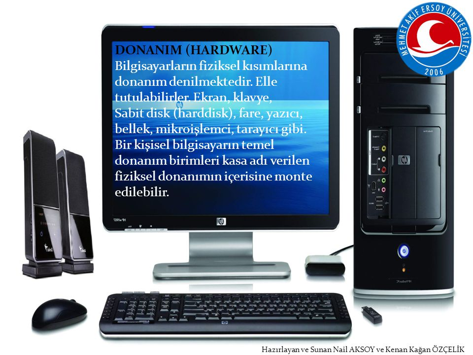 DONANIM (HARDWARE) Bilgisayarların fiziksel kısımlarına donanım denilmektedir. Elle tutulabilirler. Ekran, klavye,