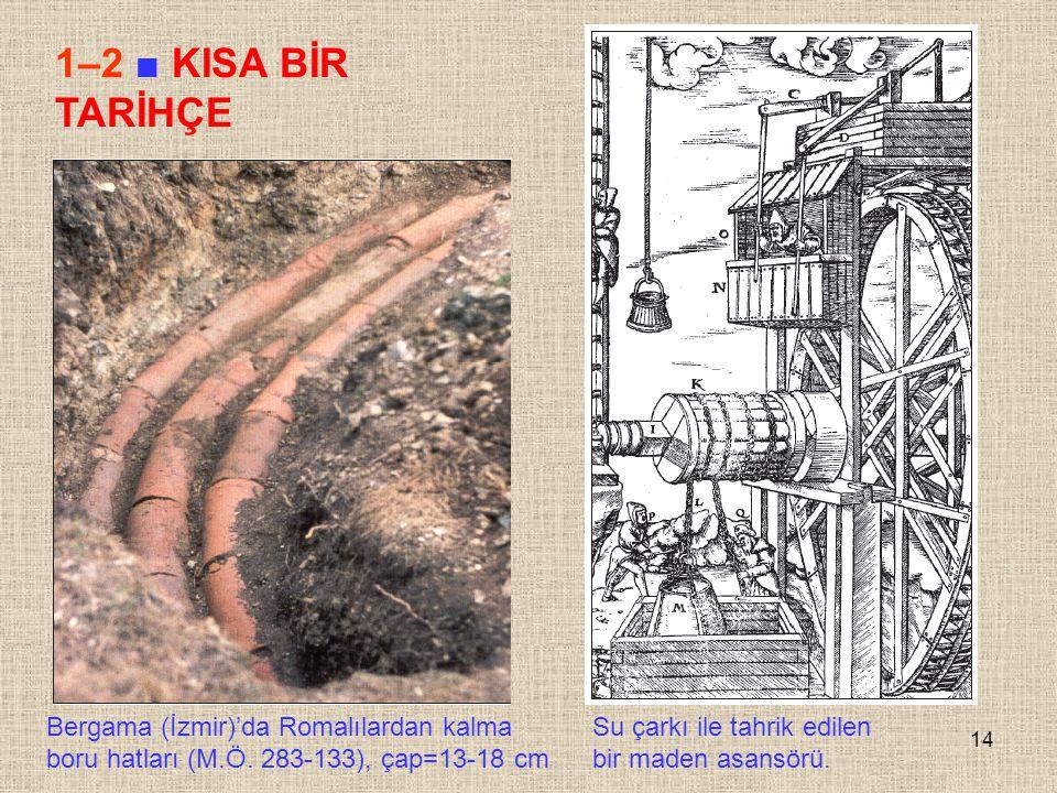 1–2 ■ KISA BİR TARİHÇE Bergama (İzmir)'da Romalılardan kalma boru hatları (M.Ö. 283-133), çap=13-18 cm.