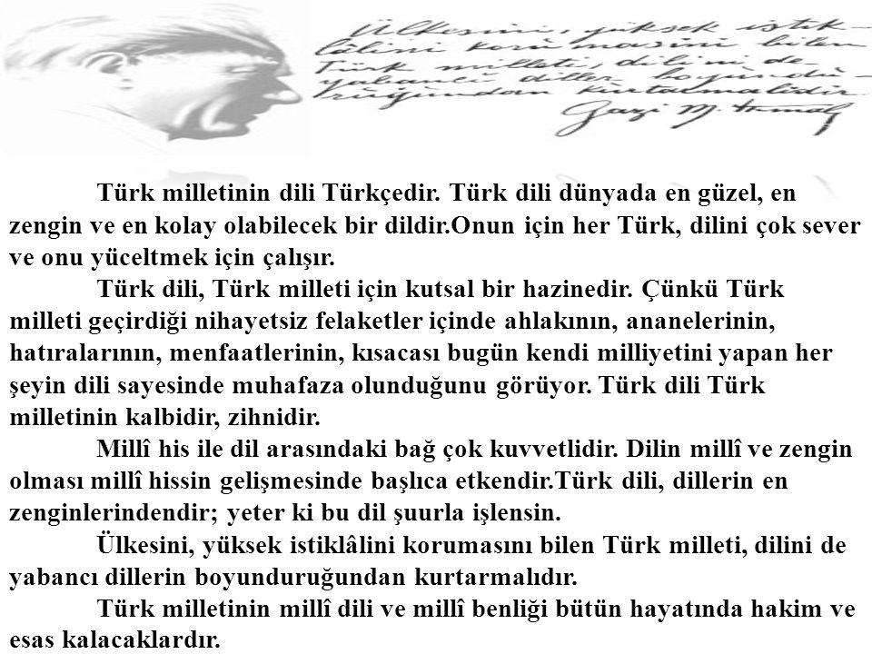 Türk milletinin dili Türkçedir