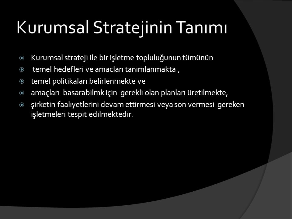 Kurumsal Stratejinin Tanımı
