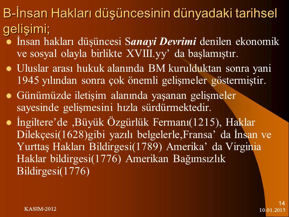 B-İnsan Hakları düşüncesinin dünyadaki tarihsel gelişimi;
