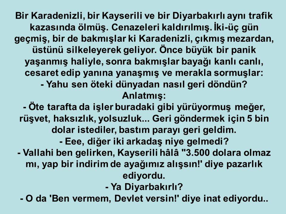 Bir Karadenizli, bir Kayserili ve bir Diyarbakırlı aynı trafik kazasında ölmüş.