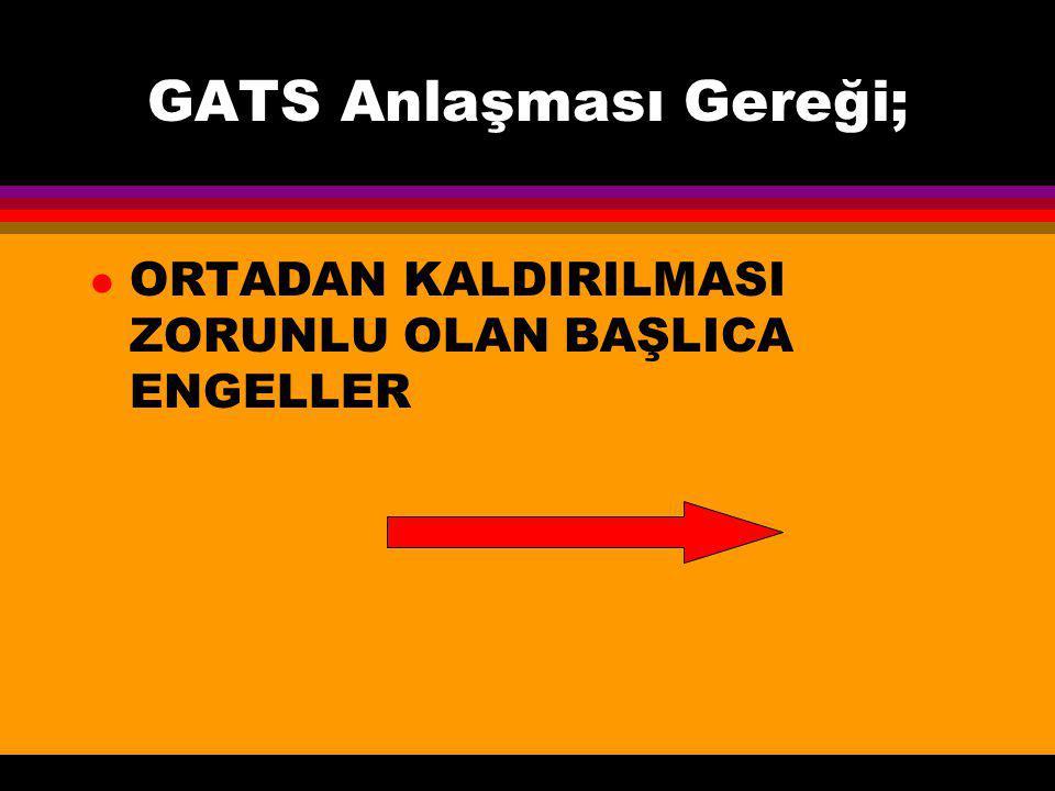 GATS Anlaşması Gereği;