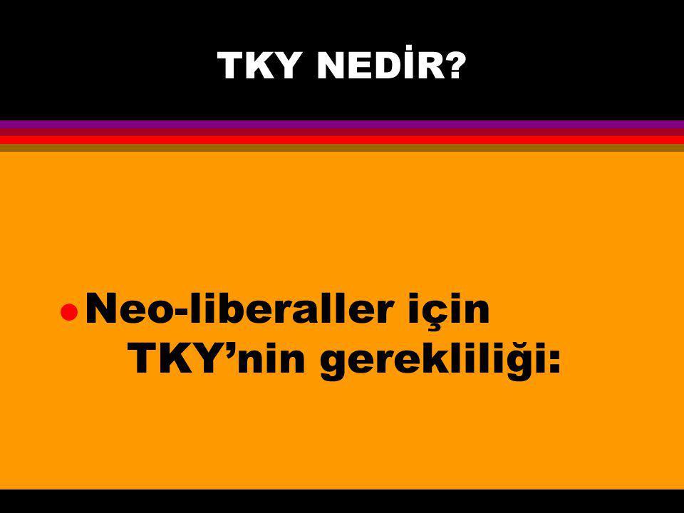 Neo-liberaller için TKY'nin gerekliliği:
