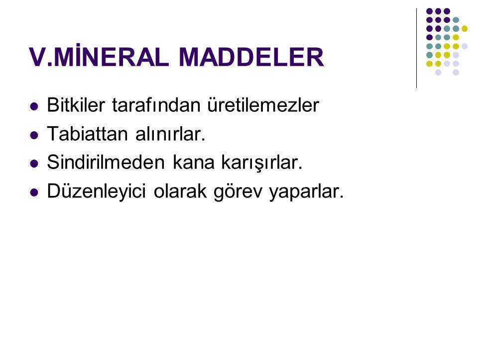 V.MİNERAL MADDELER Bitkiler tarafından üretilemezler