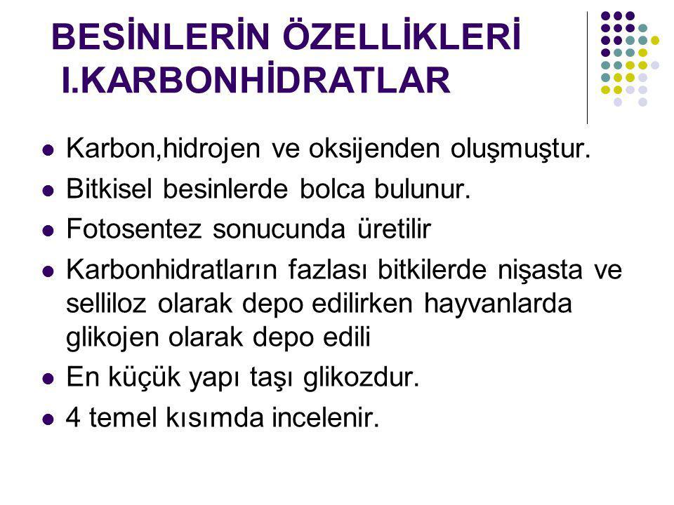 BESİNLERİN ÖZELLİKLERİ I.KARBONHİDRATLAR