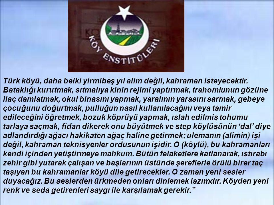Türk köyü, daha belki yirmibeş yıl alim değil, kahraman isteyecektir.