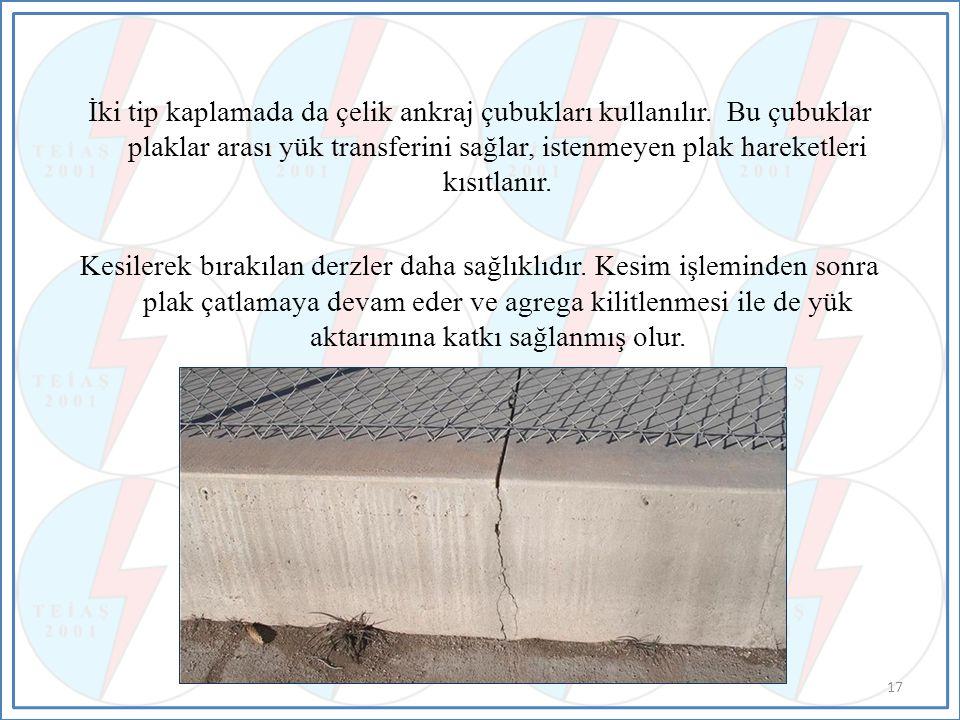 İki tip kaplamada da çelik ankraj çubukları kullanılır
