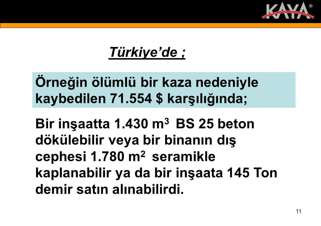 Türkiye'de ; Örneğin ölümlü bir kaza nedeniyle kaybedilen 71.554 $ karşılığında;